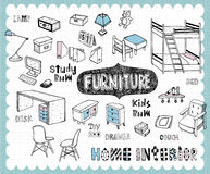 Hand drawn home furnishing set-Study room and Kids room Stock Photos
