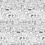 Hand drawn Home seamless pattern Stock Photography