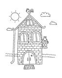 Hand drawn home. Villa vector. House coloring book. Cartoon village. Hand drawn home. Villa vector. House coloring book. Cartoon village Royalty Free Stock Image