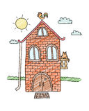 Hand drawn home. Villa vector. House for kids Cartoon village. Stock Image