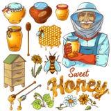 Hand Drawn Honey Icon Set Stock Images