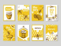 Hand drawn honey posters. Natural honey packaging with bee, honeycomb and hive vector design. Illustration of honey and honeycomb, food sweet posters of set stock illustration