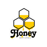 Hand-drawn honeycomb logo for honey products Royalty Free Stock Photos