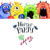 Hand drawn horizontal frame with watercolor funny monster heads. Celebration illustration. Cartoon horror party. Funny. Beasts. Baby background. Can be use in Stock Images