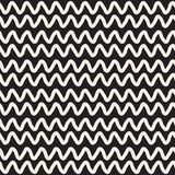 Hand Drawn Horizontal ZigZag Lines. Vector Seamless Black and White Pattern. Royalty Free Stock Photo