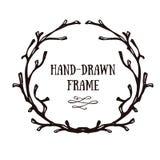 Hand-drawn horn wreath. Stock Photos