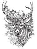 Hand drawn  horned deer with  high details ornament. Hand drawn  horned deer with high details ornament, flowers and herbs on white background Royalty Free Stock Photos