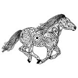 Hand drawn horse. Isolated on white. anti stress Coloring Page Vector monochrome sketch. Royalty Free Stock Images