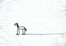 Hand drawn horse sketch with traces on crumpled Royalty Free Stock Photo