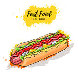 Hand drawn Hot Dog. Fast Food Stock Photo
