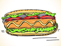 Hand drawn hot dog Royalty Free Stock Images