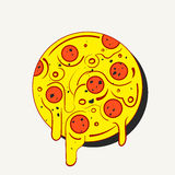 Hand drawn hot full circle of tasty pizza on white background. Modern fast food stylish logotype or eating icon. Stock Photos