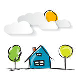 Hand Drawn House Illustration with Paper Clouds Royalty Free Stock Photos