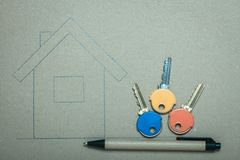Hand drawn house and keys, real estate & building Royalty Free Stock Images