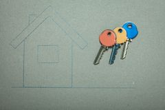 Hand drawn house and keys, real estate & building Stock Image
