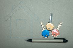 Hand drawn house and keys, real estate & building Royalty Free Stock Photo