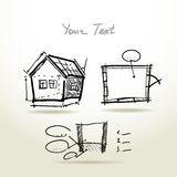 Hand drawn House plan sketch project for your Royalty Free Stock Photos
