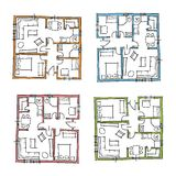 Hand drawn house plans Royalty Free Stock Image
