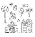 Hand-drawn house and tree doodles. Vector collection. royalty free illustration