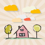 Hand Drawn House with Trees Stock Photography
