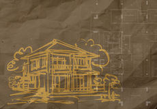Hand drawn house on wrinkled recycle paper background Stock Photos