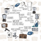 Hand drawn household appliances stock images