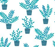 Hand drawn houseplants in flat style seamless pattern, transparent background royalty free stock image