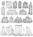 Hand drawn houses Stock Images