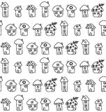 Hand Drawn Houses. Seamless Pattern. Childish Royalty Free Stock Photography