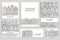 Hand drawn houses set vector illustration