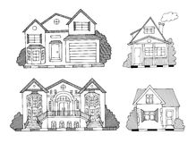 Hand drawn houses vector Royalty Free Stock Images