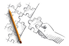 Hand drawn human arm completing puzzle Royalty Free Stock Photo