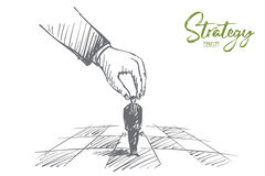 Hand drawn human arm touching figure as chessman. Vector hand drawn Strategy concept sketch with human hand touching and playing small businessman figure as Stock Photos