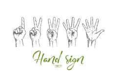 Hand drawn human fingers showing numbers. Vector hand drawn hand sign concept sketch. Human fingers showing numbers from one to five. Lettering Hand sign concept Royalty Free Stock Image