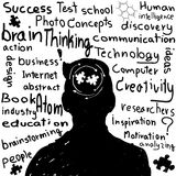Hand drawn human head and science icons. Stock Photo