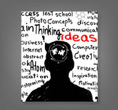 Hand drawn human head and science icons Royalty Free Stock Images