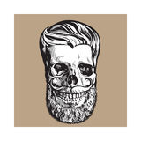 Hand drawn human skull with hipster hairdo, beard and moustache. Black and white sketch style vector illustration isolated on brown background. Hand drawing of royalty free illustration