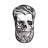 Hand drawn human skull with hipster hairdo, beard and moustache. Black and white sketch style vector illustration isolated on white background. Hand drawing of stock illustration