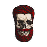 Hand drawn human skull with hipster red hairdo, beard and moustache Stock Photos