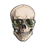 Hand drawn human skull wearing green aviator sunglasses. Sketch style vector illustration isolated on white background. Realistic hand drawing of skull wearing Royalty Free Stock Photo