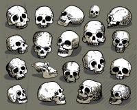Hand-drawn human skulls Stock Photos