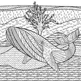 Hand drawn humpback whale in the waves. Hand drawn humpback whale in the waves for anti stress Coloring Page with high details,  on pattern background Stock Image