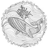 Hand drawn humpback whale in the waves. Hand drawn humpback whale in the waves for anti stress Coloring Page with high details,  on pattern background Stock Images