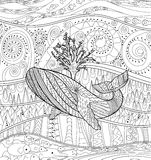 Hand drawn humpback whale in the waves. Hand drawn humpback whale for anti stress Coloring Page with high details,  on pattern background, illustration in Stock Photos