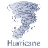 Hand Drawn Hurricane with Lightnings isolated on White. Royalty Free Stock Photos