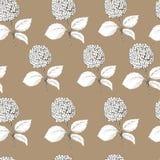 Hand drawn hydrangea seamless pattern. Retro style. stock illustration