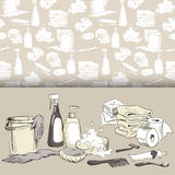 Hand-drawn hygiene elements on seamless pattern Royalty Free Stock Photo