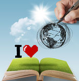 Hand drawn I LOVE THE EARTH Royalty Free Stock Photo
