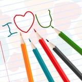 Hand-drawn i love u messages. Stock Photos