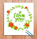 Hand drawn I love you  card. Typography and Stock Photos